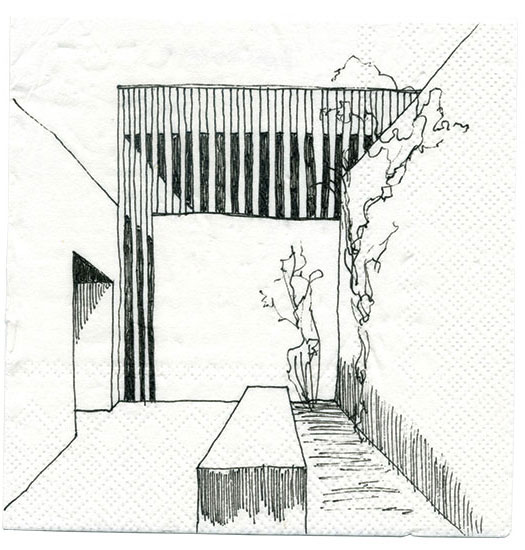 2019 Cocktail Napkin Sketch Contest: Runner-Up, Non-Registered Architect