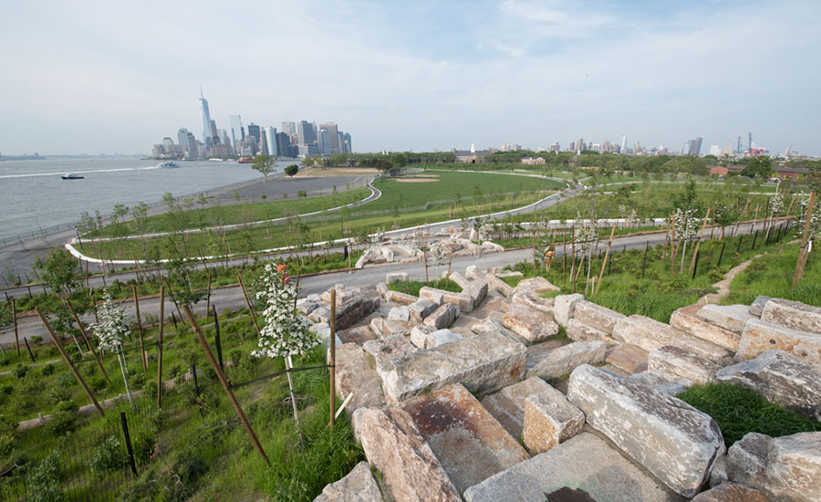 Granite Block Seawall : Governors island gains new ground
