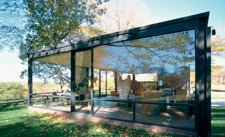 Philip Johnson Sits In A Corner Of The Glass House New Canaan Connecticut 1998 Multiple Reflections On Transparent Glazed Expanses Seem To
