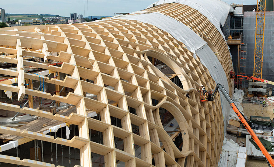 A Closer Look at the Gridshell Roof of Swatch Headquarters by Shigeru Ban