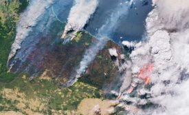 The Copernicus Sentinel-2 satellite captured this image of smoke and flames from bushfires in Australia on December 31, 2019.