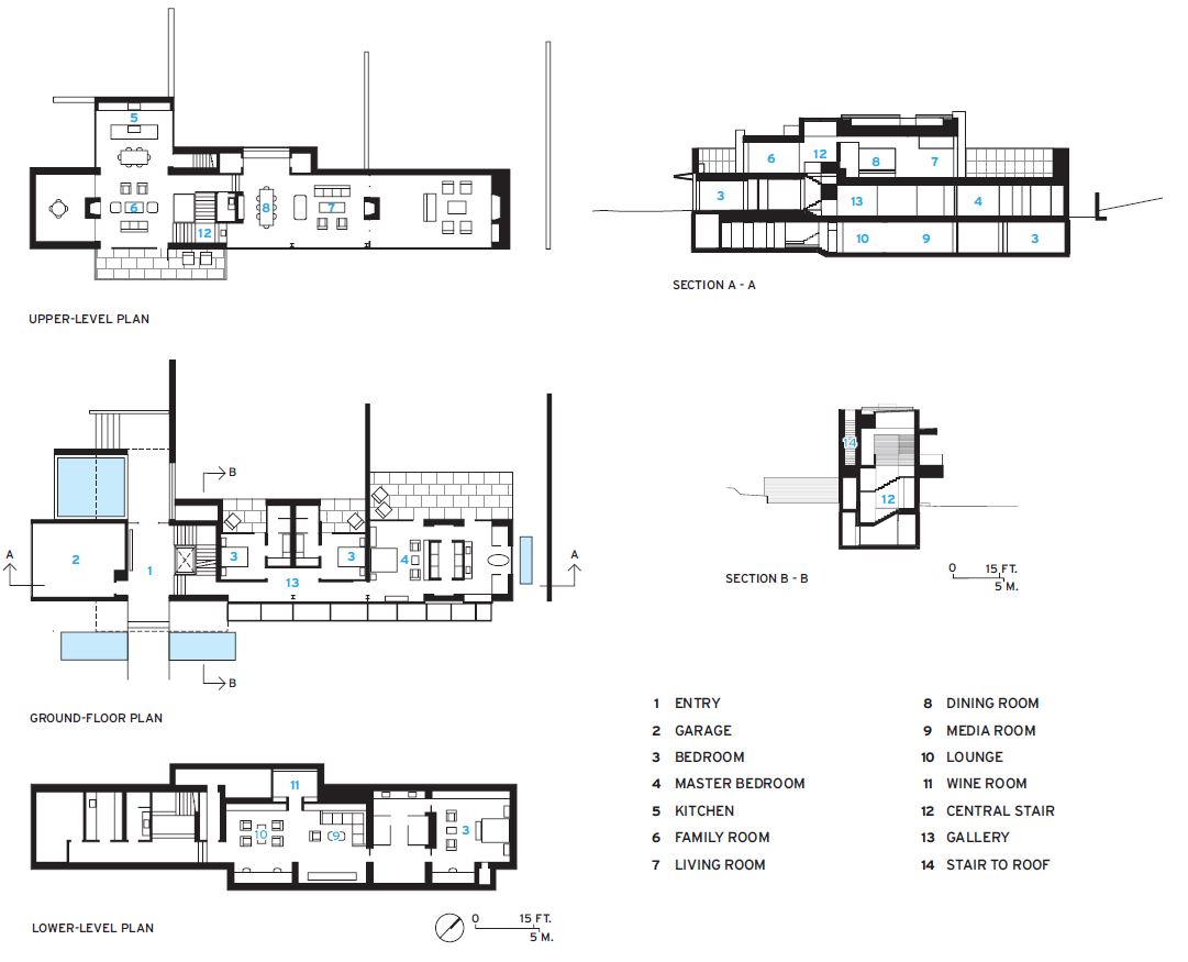 Pebble Beach House plans and section.