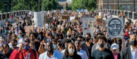 On June 5, thousands of protesters marched from downtown Minneapolis to the site of George Floyd's arrest.