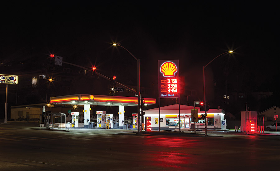 A standard corner gas station in Los Angeles.