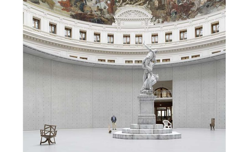 The Bourse de Commerce rotonda, with opening installation by Urs Fischer.