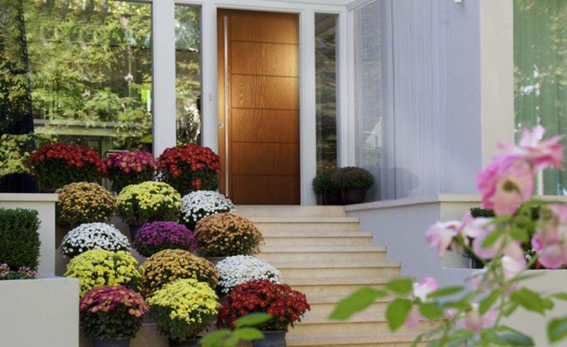 A fiberglass door designed to match natural wood graining, part of Plastpro's Modern Series.