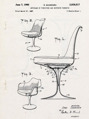 Patent drawing for pedestal chairs