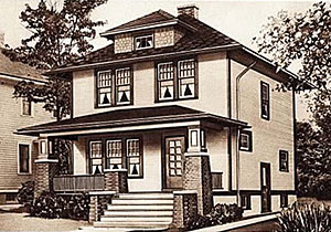 "The Fullerton Kit house, as pictured in a 1920s Sears, Roebuck ""Modern Homes"" catalog."
