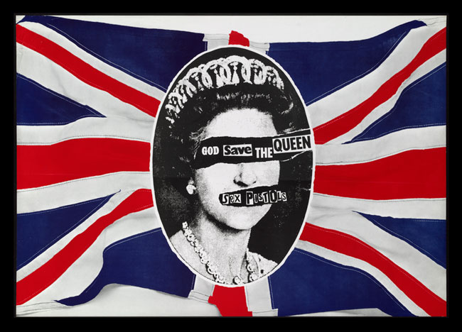 1977 'God Save the Queen' poster promoting the Sex Pistols.
