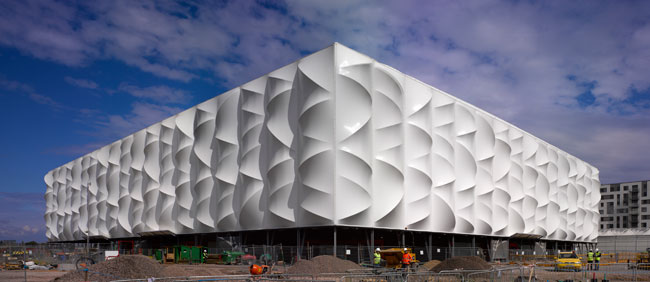 After the Games, Wilkinson Eyre's PVC -clad Basketball Arena will be dismantled and reerected elsewhere as needed.