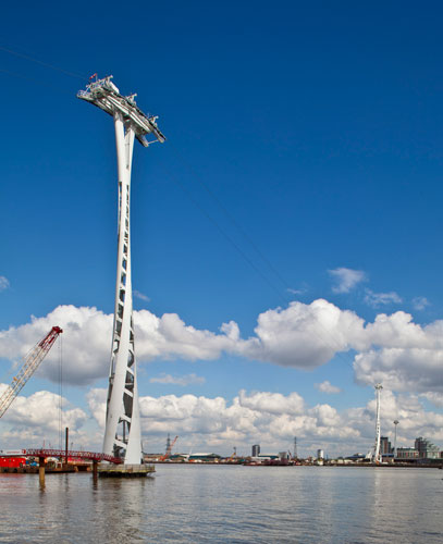 Designed by Wilkinson Eyre and constructed by Mace, the Emirates Air Line will stretch seven-tenths of a mile across the Thames,  connecting the North Greenwich Peninsula and the Royal Docks. Thirty-f