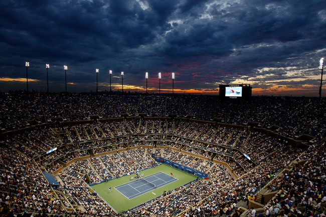Largest-capacity tennis stadium; 22,547 seats + 90 luxury suites. The main stadium of the U.S. Open tournament. It is part of the National Tennis Center, a 46.5-acre complex located inside Flushing Me