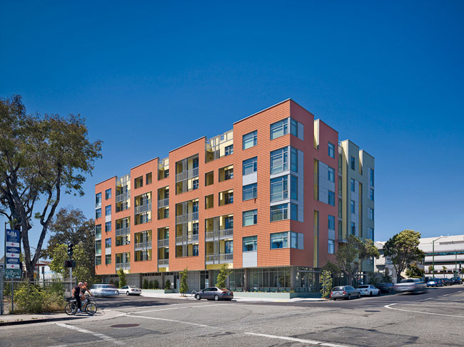 In 2012 Leddy Maytum Stacy Architects completed the 70-unit Merritt Crossing Senior Apartments for Affordable Housing Associates in Oakland.