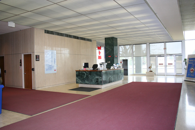 An employee entrance before renovation.