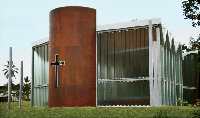 The architects designed a private memorial chapel in Libreville, Gabon, using a mix of modern and traditional materials and forms. The apse, enclosed in Cor-Ten steel and incised with a cross, is