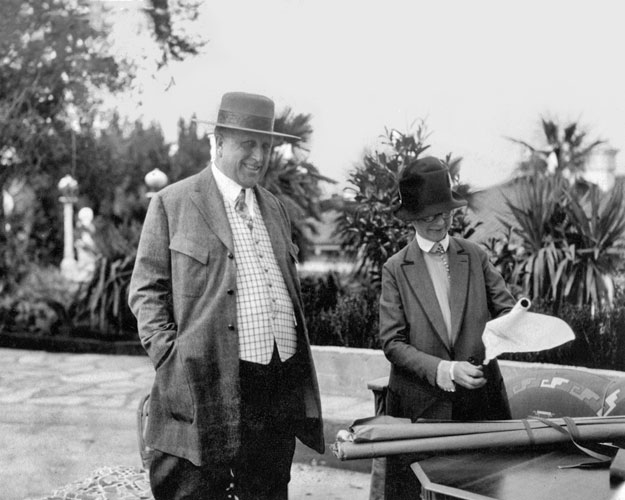 William Randolph Hearst confers with Morgan during construction of the Hearst Castle in San Simeon in 1926. According to biographer Sara Boutelle, Morgan made 558 trips to the site between 1919 and 19