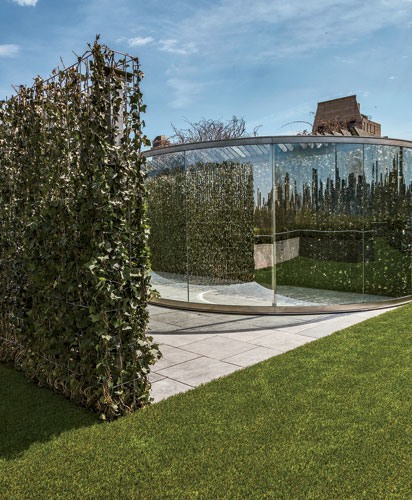 For decades, Dan Graham has created pavilions that play with viewers&#8217; perceptions of space. His <em>Hedge Two-Way Mirror Walkabout</em>, 2014, a collaboration with the Swiss landscape architect