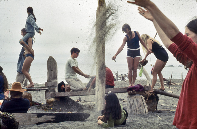 Driftwood Village, the dance and sculpture workshop on the beach at the Sea Ranch, on July 6, 1968.