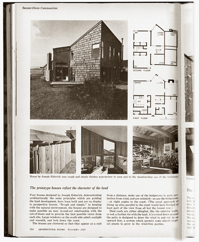 A page from <em>Architectural Record</em>&rsquo;s report on the Sea Ranch in 1965, with another Esherick house.