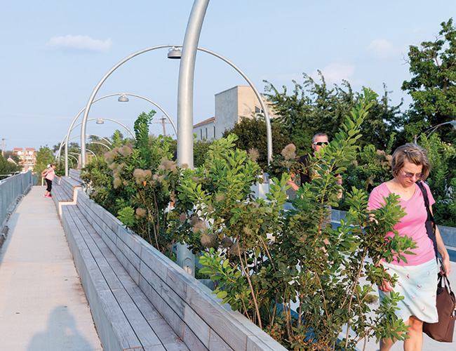 A local oasis, this 2.7-mile trail lifts commuters, cyclists, and joggers above urban congestion, offering a practical, landscaped route for running errands and getting around.