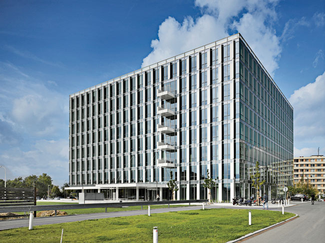 Inspired by Czech Cubism, City Green Court is the city's first LEED Platinum–certified building.