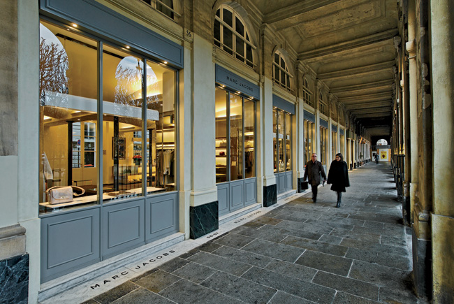 "For the Marc Jacobs Paris store, the architect transformed a space in the historic Palais-Royal into an intimate but open boutique. ""There was suspicion that we were risking altering the charact"