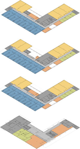 Color-coded floor plans