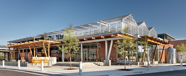 The LEED Gold'certified Grand Rapids Downtown Market employs a geothermal system to refrigerate food storage and heat its greenhouse.