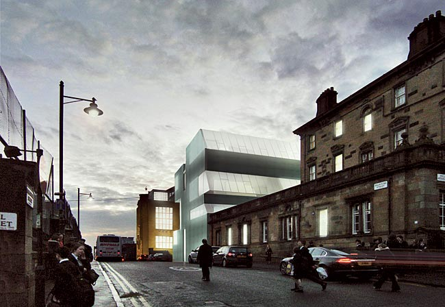 The extension by Steven Holl Architects with JM Architects (Glasgow) adds studios and offices to the famed Glasgow School of Art by Charles Rennie Mackintosh.