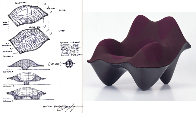 Greg Lynn sketches by hand, but typically after first digitally modeling an idea. In his drawing of the Ravioli Chair, designed for Vitra, he describes form with a gridlike mesh.