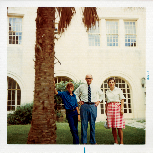 Rob Rogers strikes a cool pose with his architect parents during a visit to the University of Texas School of Architecture in June 1973.