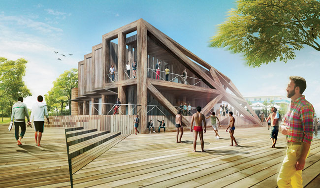 "When HWKN proposed the Fire Island Pines Pavilion in 2012, the firm wanted to reflect the ""young, chic, beach-y vibe"" of the legendary gay resort. The bearded man in the foreground (at"
