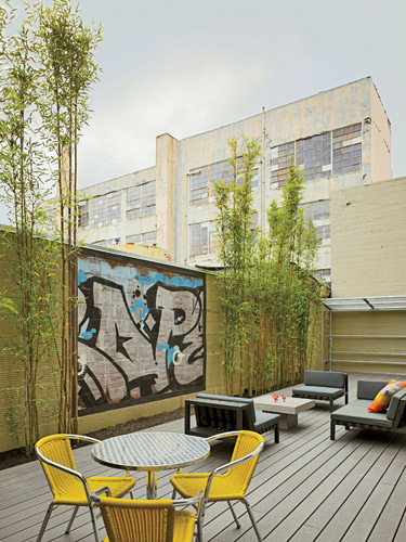 To compensate for small apartment size, 38 Harriet Street  includes ample communal space, such as this patio.