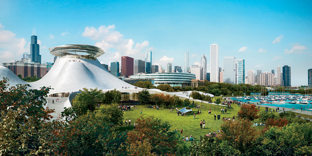 MAD's controversial design for the Lucas Museum sits on the shore of Lake Michigan with the city as a backdrop. Studio Gang will design the landscape, while VOA Associates will serve as executive architect.