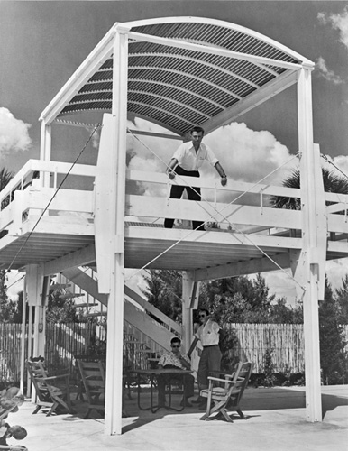Rudolph stands on a balcony of his Sanderling Beach Club in Siesta Key, Florida, completed in 1953.