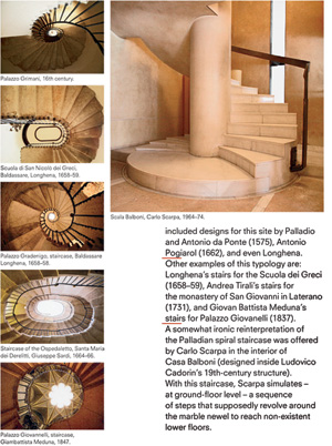 In analyzing architectural components significant to Venice's heritage, Foscari compares such elements as stairs by Carlo Scarpa (above) with historic predecessors.