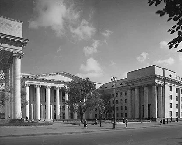 Chernyshev designed the Moscow Automobile and Roadways Institute in a neoclassical style that went out of favor in the 1950s.