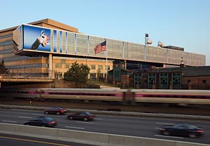 "The ""digital mural"" on the WGBH building, in Boston"