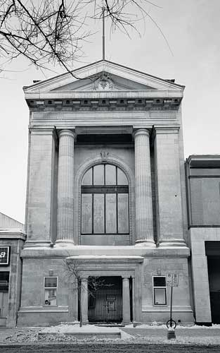 The firm's unrealized plan to adapt an early-20th-century bank building in downtown Winnipeg to accommodate offices and a restaurant took advantage of the structure's narrow footprint and high ceiling
