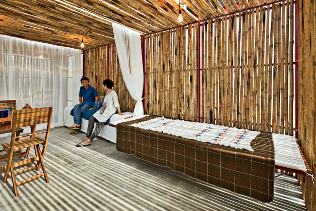Vo's firm designed this project as a prototype for low-income housing in the Mekong River Delta. In the summer of 2012, a pair of these houses were built for a total of $4,800 on the construction site