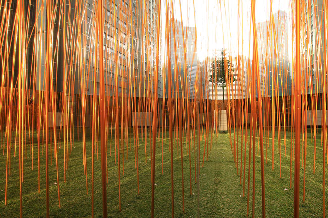 Mounted on the terrace of Hong Kong art space Spring Workshop, Industrial Forest alludes to the area's natural, industrial, and postindustrial heritage. Its metal 'bamboo' rods respond to the movement