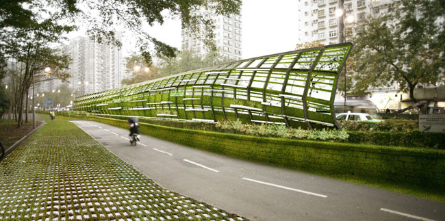 A scheme for noise barriers along highways, this project weaves together nature and infrastructure. The design incorporates vegetated surfaces that help cool roadways and provide habitat to birds.