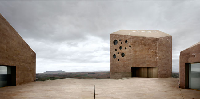 The stone tower is 'a recognizable type-form in Castille,' says Alberto Veiga. In this project, located about 111 miles north of Madrid, it houses the board overseeing the wines of the Ribera del Duer