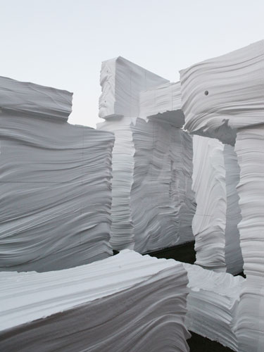 NAMELESS used blocks of EPS (expanded polystyrene) to create a grotto-like installation that plays with appearance and reality. Brought to the site in hefty-looking chunks and hand-carved by artist Kw