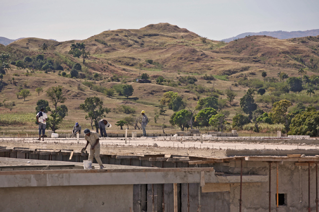The hospital is being constructed in central Haiti.
