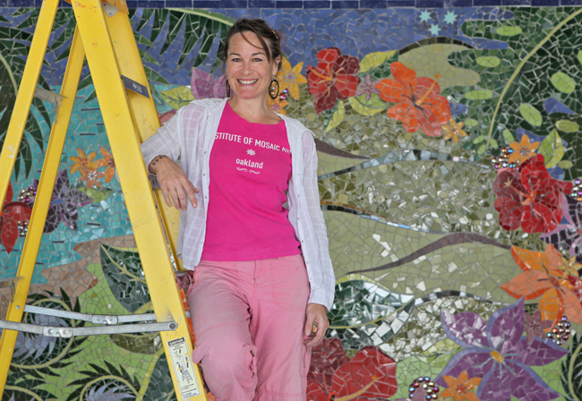 Artist Laurel True has created vibrant mosaic artwork for the facility.