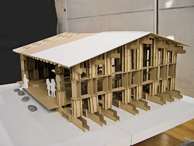 Architecture professor Hiroto Kobayashi and his students design a bath house for a community in Minami Sanriku, a town impacted by the March 11, 2011 earthquake and tsunami.
