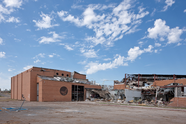 The tornado that swept through Joplin on May 22, 2011 crushed the town's late 1950s school.