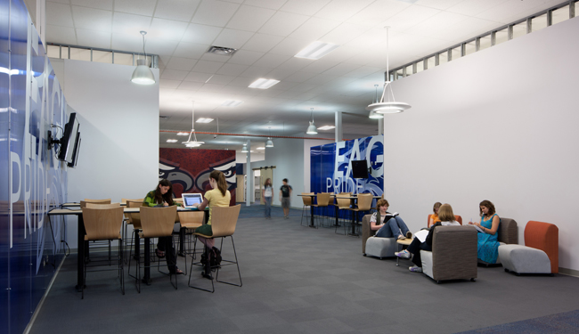 The school has plenty of spaces where students can gather to chat or study together.