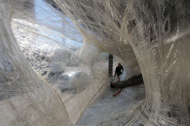 Stuck-Together Structure: <br>A Packing Tape Design Installation